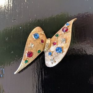Vintage Gold Tone Brooch with Colorful Rhinestones